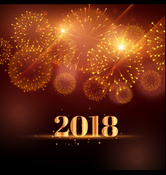 happy new year fireworks background for 2018 vector image