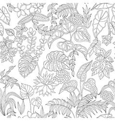 tropic pattern monochrome vector image vector image