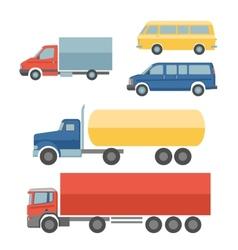 Trucks flat icons set vector image vector image