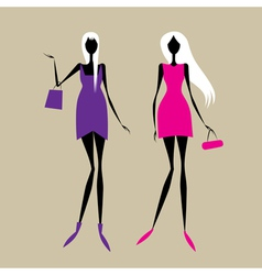 Fashion girls for your design vector image vector image
