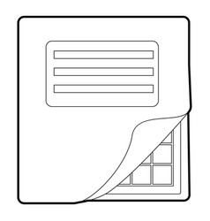 Folder with table excel icon outline style vector