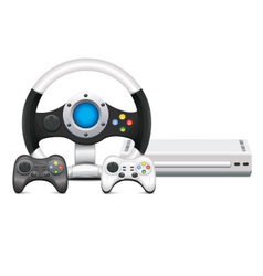 Game Console With Steering Wheel And Gamepad vector image vector image