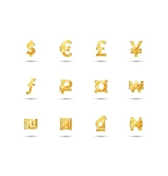 Main currency signs icons made of shiny gold vector image vector image