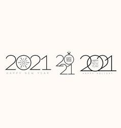 2021 happy holiday holiday sign set vector image