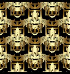 3d gold floral greek key seamless pattern vintage vector