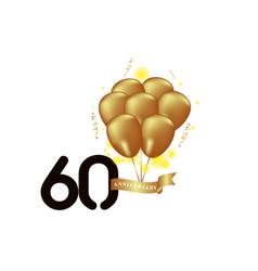 60 year anniversary black gold balloon template vector