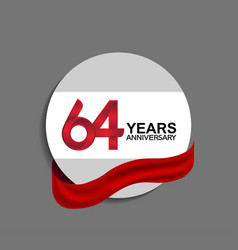64 years anniversary design in circle red ribbon vector