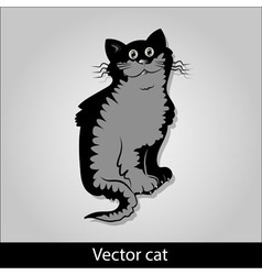 A funny black cat is sitting and smiling vector