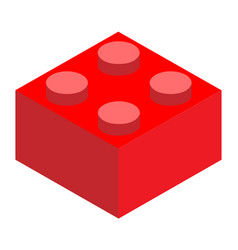 A lego red lego brick block on white background vector