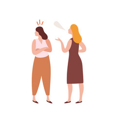 Abuser young woman talking with offended girl vector