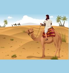 Arabian riding camels on the desert vector