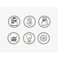 Assorted economy related icons buttons image vector