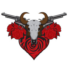 Banner on theme love and death with pistols vector