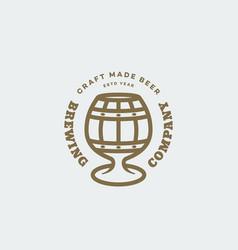 Barrel glass beer logo vector