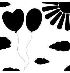 Black isolated silhouettes of balloons on a white vector