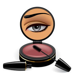 black make up container with mirror with a female vector image