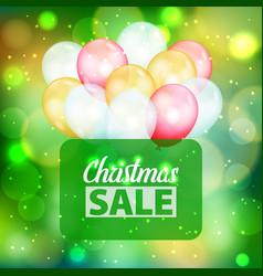 bokeh pattern christmas sale text air balloons vector image