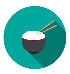 bowl of rice with pair of chopsticks vector image