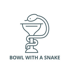 Bowl with a snake line icon bowl with a vector