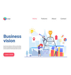 Business vision flat landing page template vector