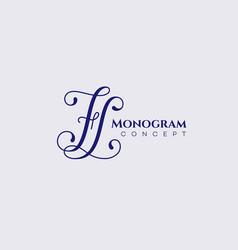 calligraphic monogram fl vector image
