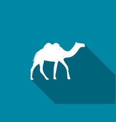 Camel with a long shadow camel with two humps vector