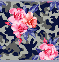 camo military in pink yellow color with pink roses vector image