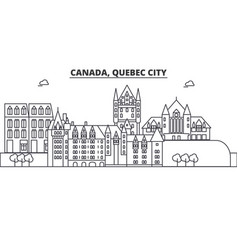 Canada quebec city architecture line skyline vector