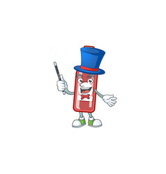 Cartoon character champagne red bottle magician vector