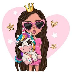 Cartoon girl princess in a pink glasses with vector