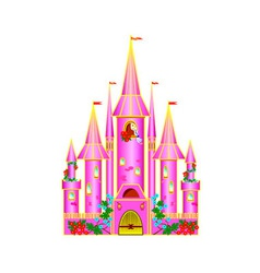 Cartoon pink castle vector