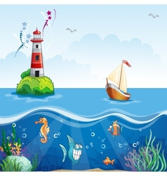 Childrens with lighthouse and sailboat On the sea vector