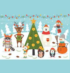 Christmas characters around tree vector