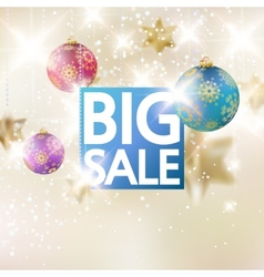 Christmas sale template with gold stars vector image