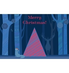 christmas tree merry and happy new year card vector image