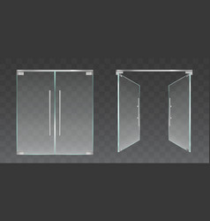 clear glass doors open and closed vector image