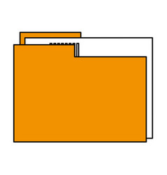 Color silhouette image documents folder with sheet vector