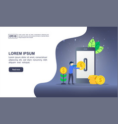 concept mobile banking with character modern vector image