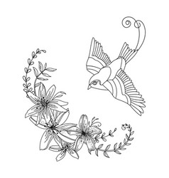 Contour flying bird with flowers composition vector