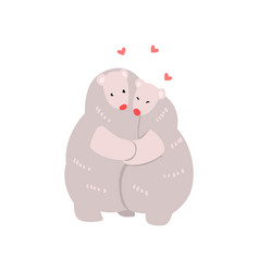 couple cute polar bears in love embracing each vector image