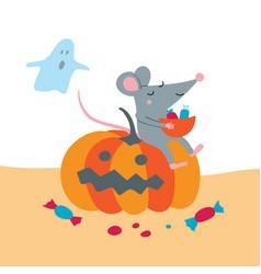Cute rat sit on pumpkin celebrate vector