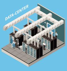 datacenter isometric icon set vector image