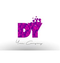 Dy d y dots letter logo with purple bubbles vector