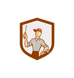 Electrician Screwdriver Plug Shield Cartoon vector