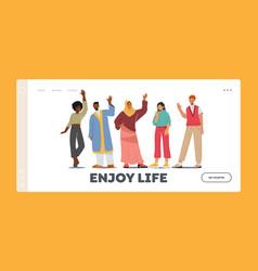 Enjoy life landing page template multinational vector