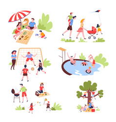 family summer outdoor activity and recreation vector image