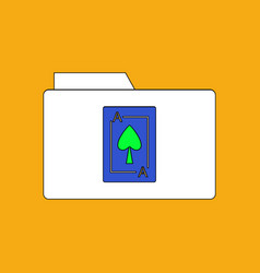Flat icon design collection playing card on folder vector