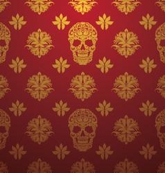 Gold Skull Ornamental Pattern vector image