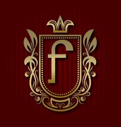 golden royal coat of arms f monogram vector image