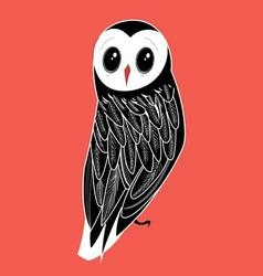 graphic owl on a red background vector image